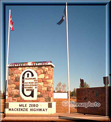 Mile Zero Mackenzie Highway Sign in Grimshaw