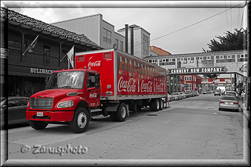 Roter Coca Cola Laster in Cannery Row